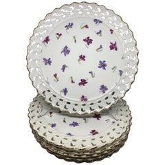Set of Six Pink and Purple Floral Gilt Plates