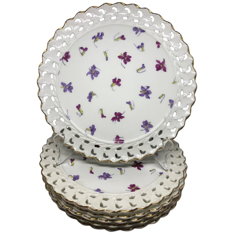 Set of Six Pink and Purple Floral Gilt Plates For Sale