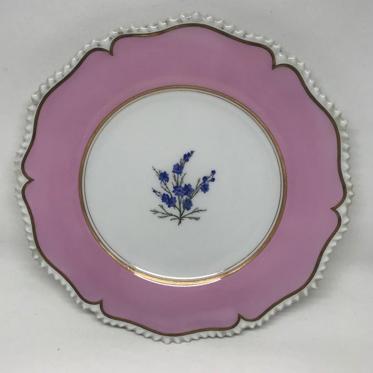 English Set of Six Pink Floral Plates For Sale