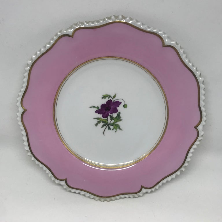 Hand-Painted Set of Six Pink Floral Plates For Sale