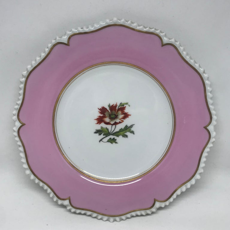 Set of Six Pink Floral Plates In Good Condition For Sale In New York, NY