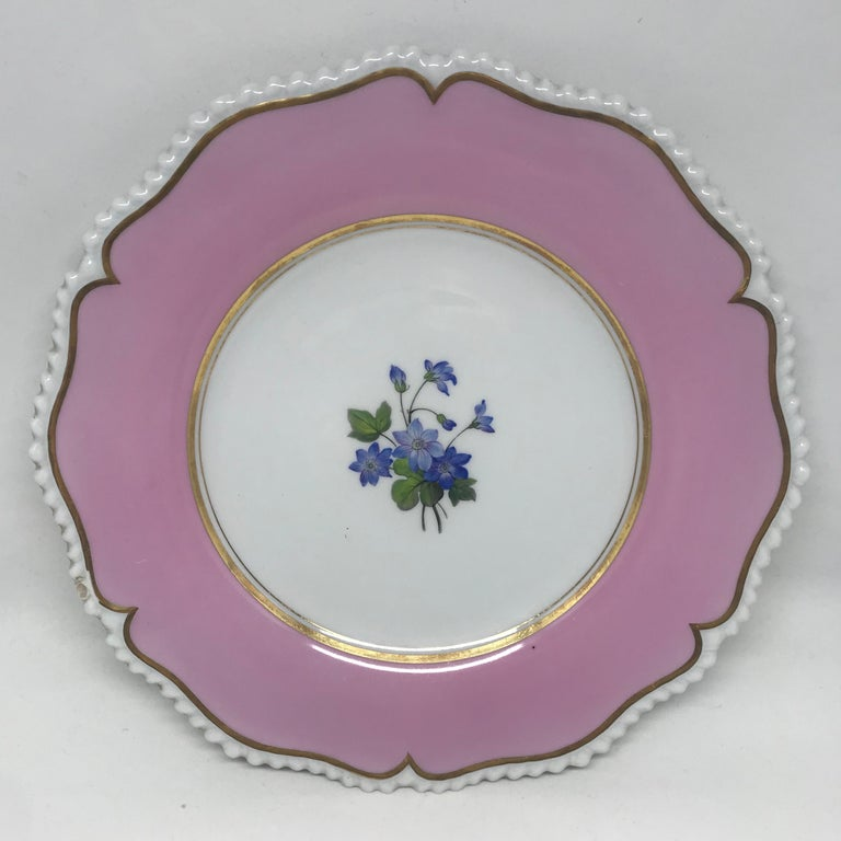 19th Century Set of Six Pink Floral Plates For Sale