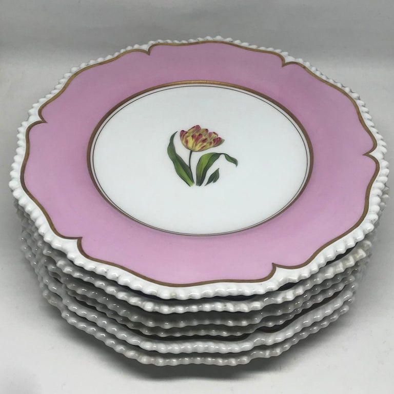 Set of Six Pink Floral Plates For Sale 1