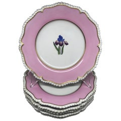 Set of Six Pink Floral Plates