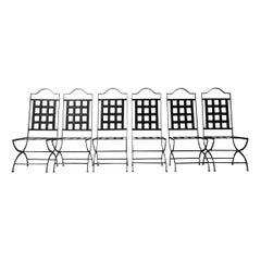 Set of Six English Mid-Century Metal Garden Dining Chairs '6'