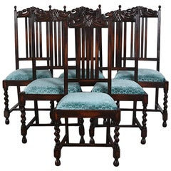 Set of Six English Oak Arts & Crafts Style Dining Chairs