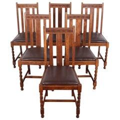 Set of Six English Oak Barley Twist Chairs
