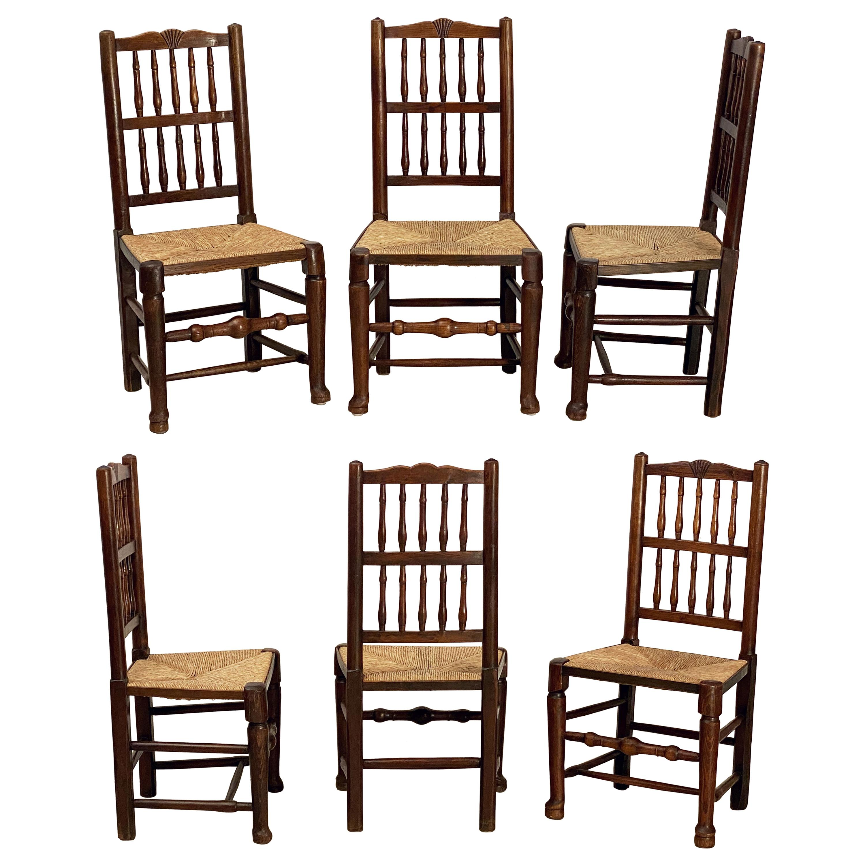 Set of Six English Oak Spindle Back Chairs with Rush Seats