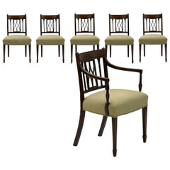 Set of Six English Regency Carved Mahogany Antique Dining Chairs, circa 1800