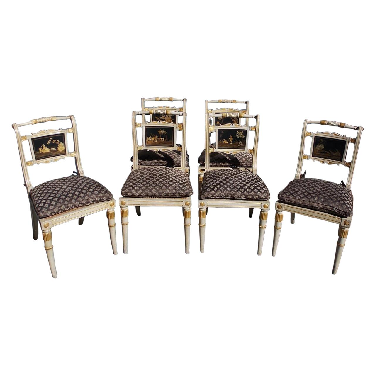 Set of Six English Regency Chinoiserie Painted and Gilt Side Chairs, Circa 1810