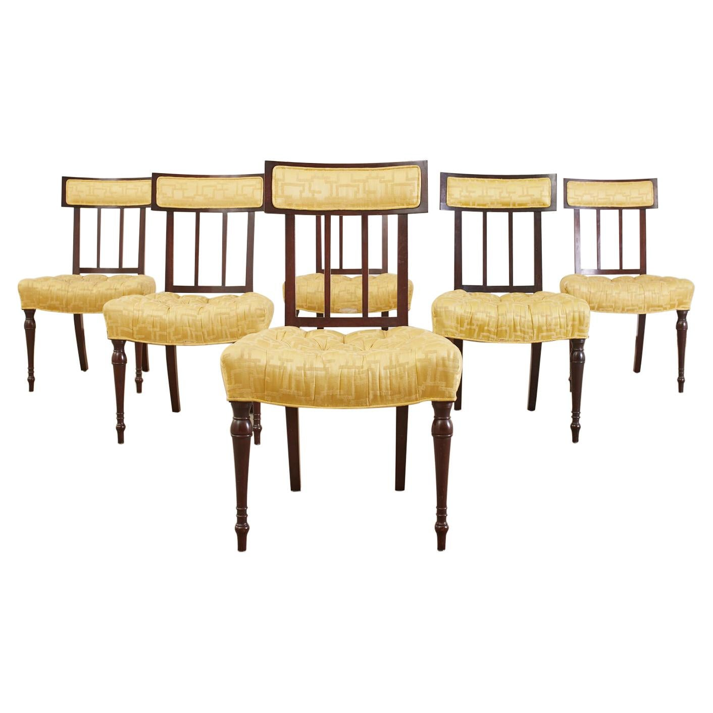 Set of Six English Regency Mahogany Tufted Dining Chairs