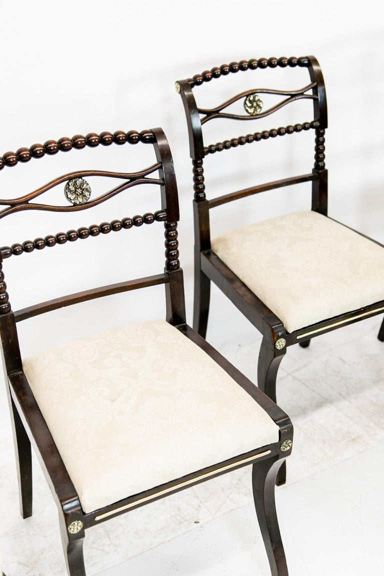 Hand-Painted Set of Six English Regency Side Chairs For Sale
