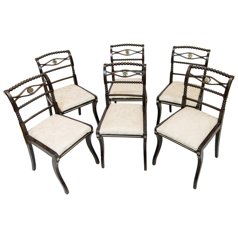 Set of Six English Regency Side Chairs For Sale