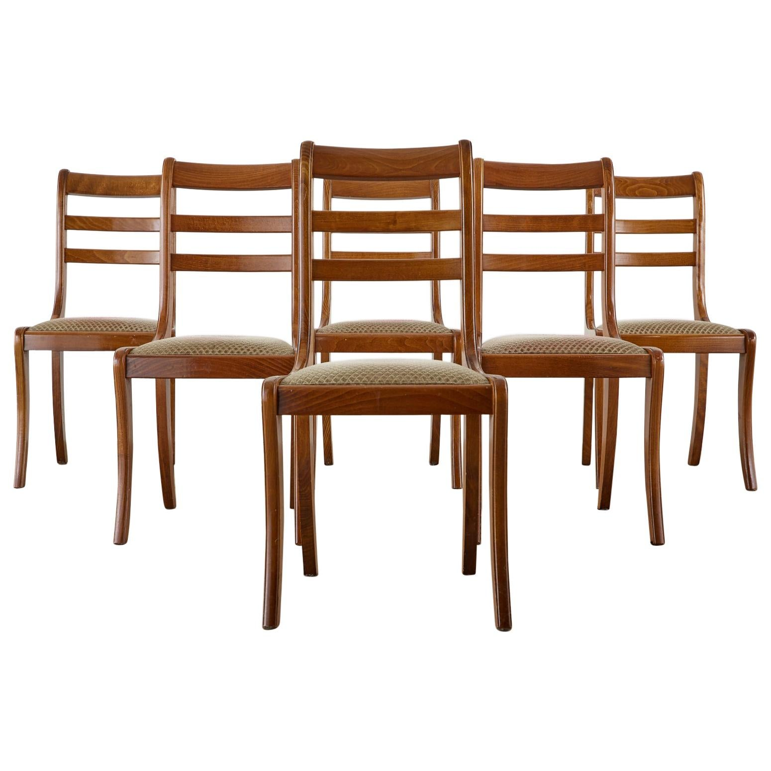 Set of Six English Regency Style Dining Chairs