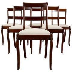 Set of Six English Regency Style Mahogany Dining Chairs