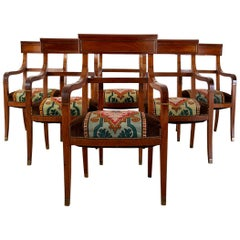 Set of Six English Regency Walnut Dining or Library Armchairs