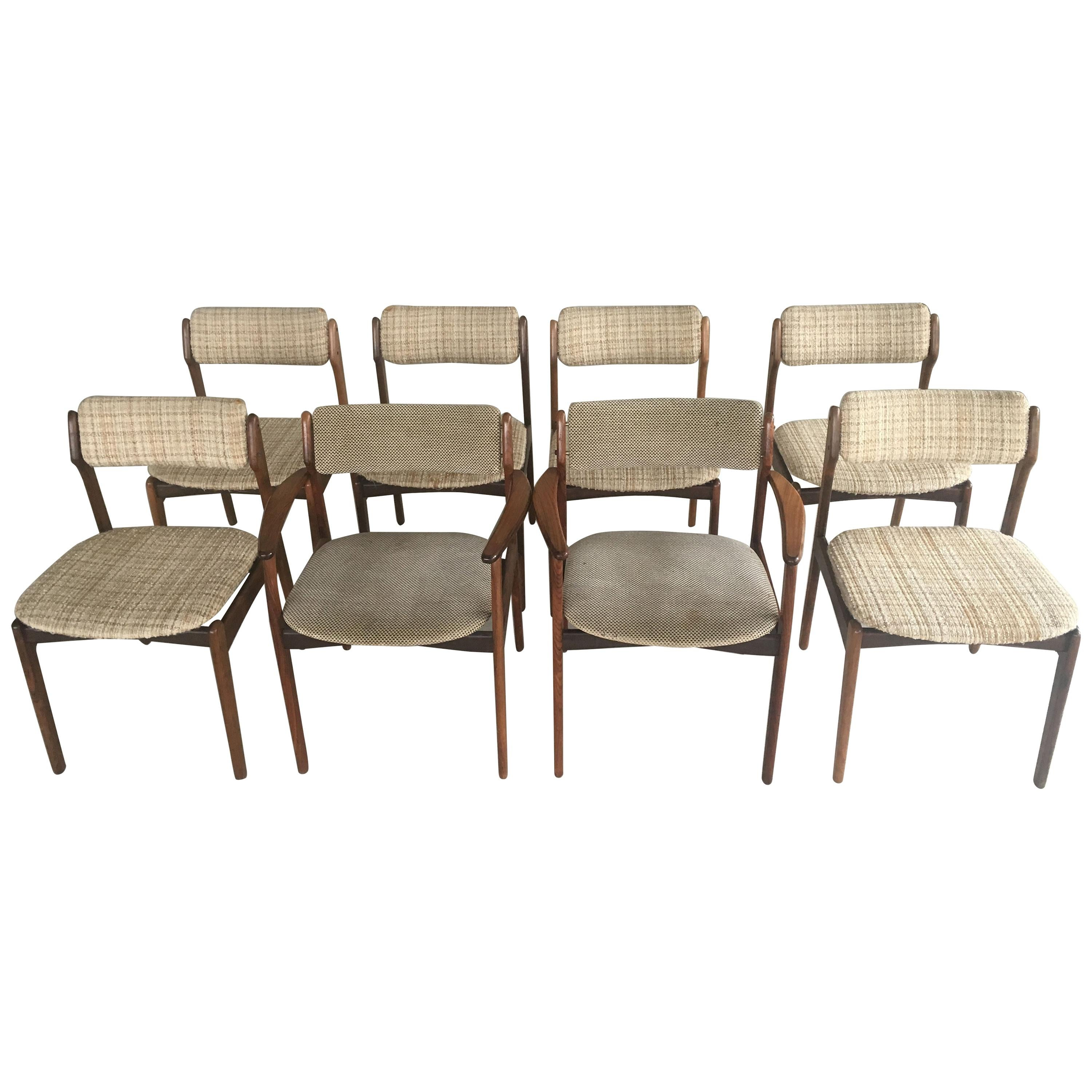 Six Erik Buch Dining chairs and Two Armchairs in Rosewood - Inc. Reupholstery