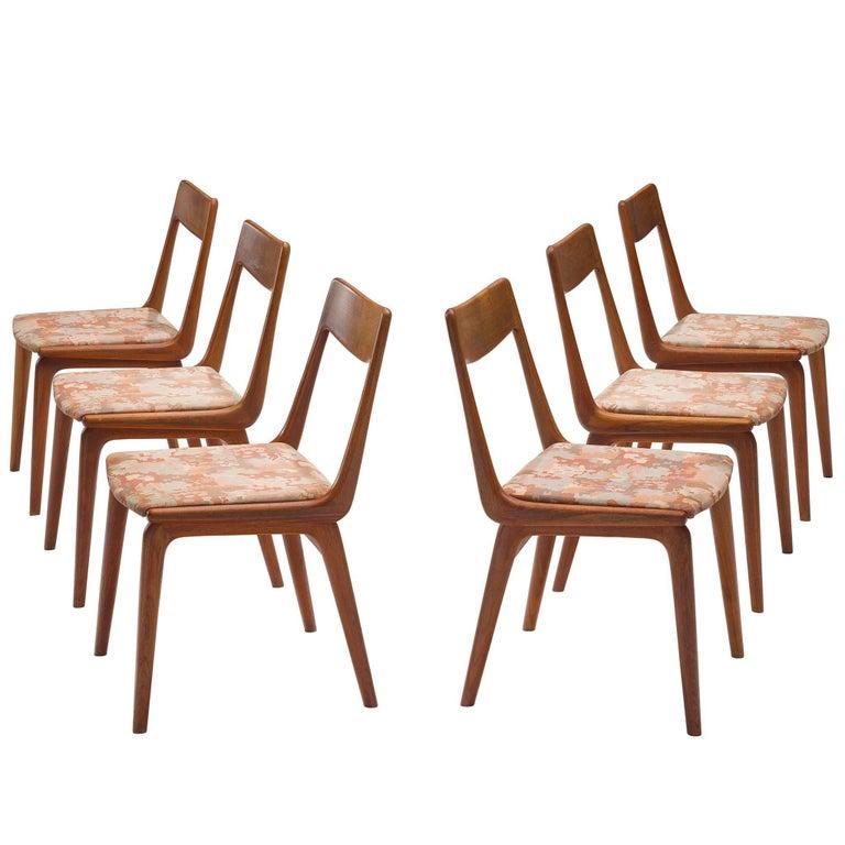 Erik Christiansen Set of Six 'Boomerang' Chairs in Teak