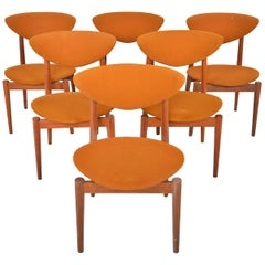 Set of Six Erik Wørtz Model 314 Danish Modern Dining Chairs in Teak by Norden