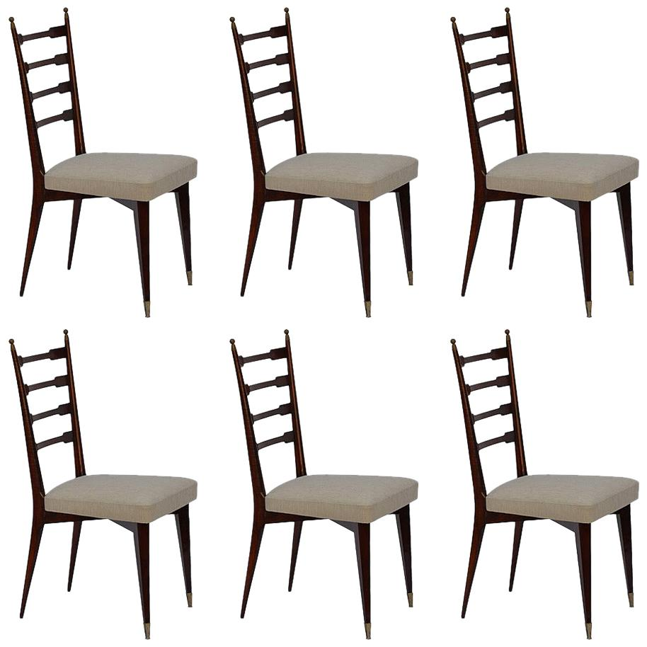 Set of Six Exceptional Midcentury Italian Dining Chairs