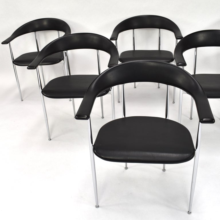 Set of six P40 dining chairs by FASEM Italy.  Designer: Giancarlo Vegni & Gianfranco Gualtierotti  Manufacturer: FASEM  Country: Italy  Model: P40 Dining chairs  Condition: Very good / Minor signs of age and use / Chrome also in very good