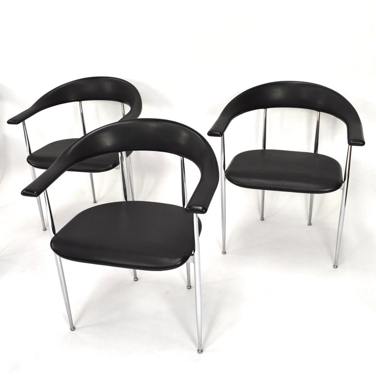 Mid-Century Modern Set of Six FASEM P40 Dining Chairs by Vegni and Gualtierotti - Italy For Sale
