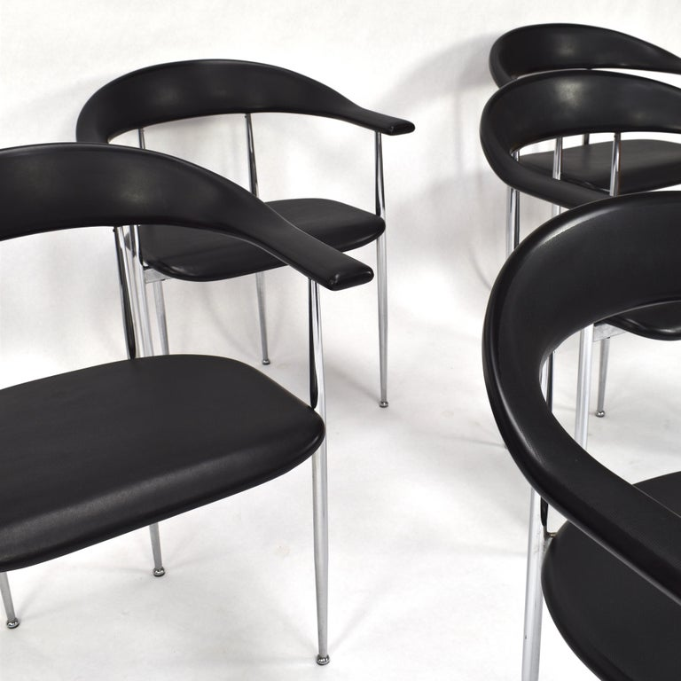 Rubber Set of Six FASEM P40 Dining Chairs by Vegni and Gualtierotti - Italy For Sale