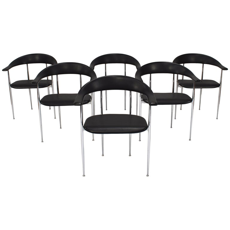 Set of Six FASEM P40 Dining Chairs by Vegni and Gualtierotti - Italy For Sale