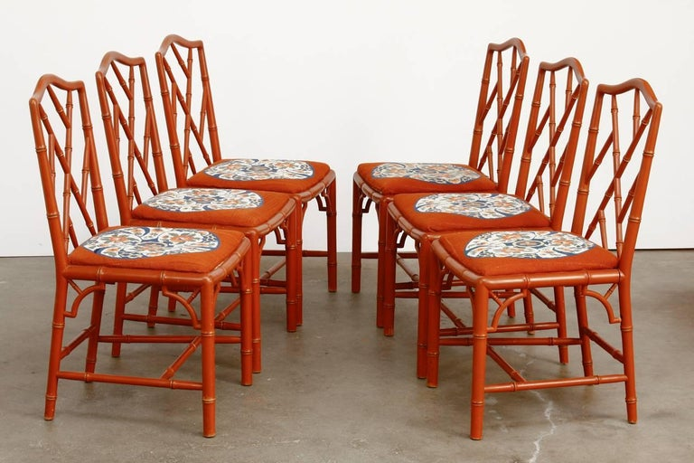 set of six faux bamboo chinese chippendale lacquered chairs for sale