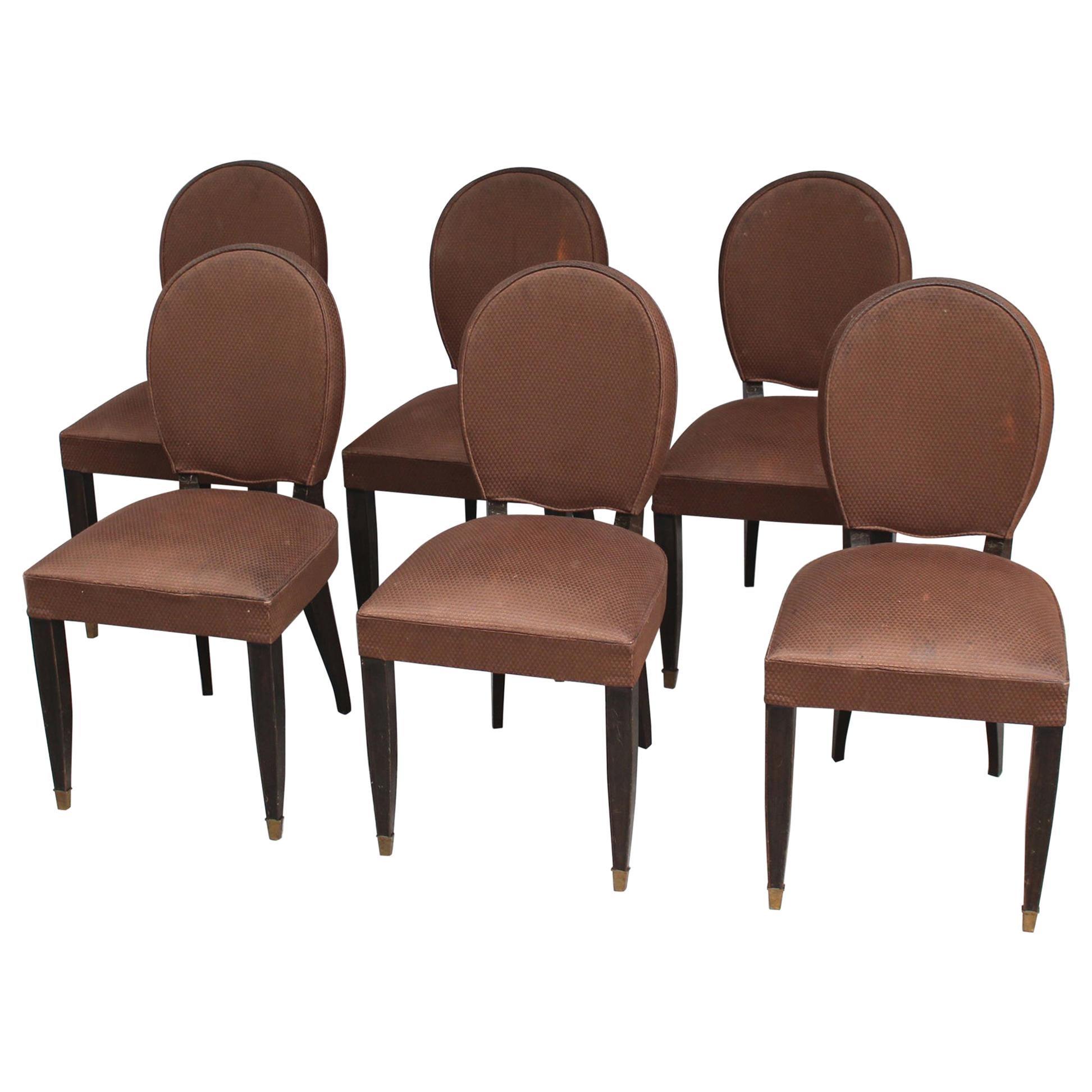 Set of Six Fine French Art Deco Ebonized Beech Dining Chairs