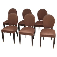 Set of Six Fine French Art Deco Ebonized Beech Dining Chairs