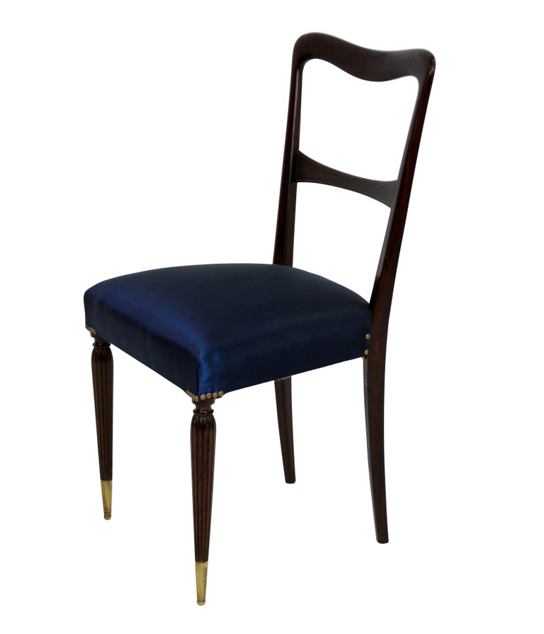Mid-20th Century Set of Six Fine Italian Dining Chairs For Sale