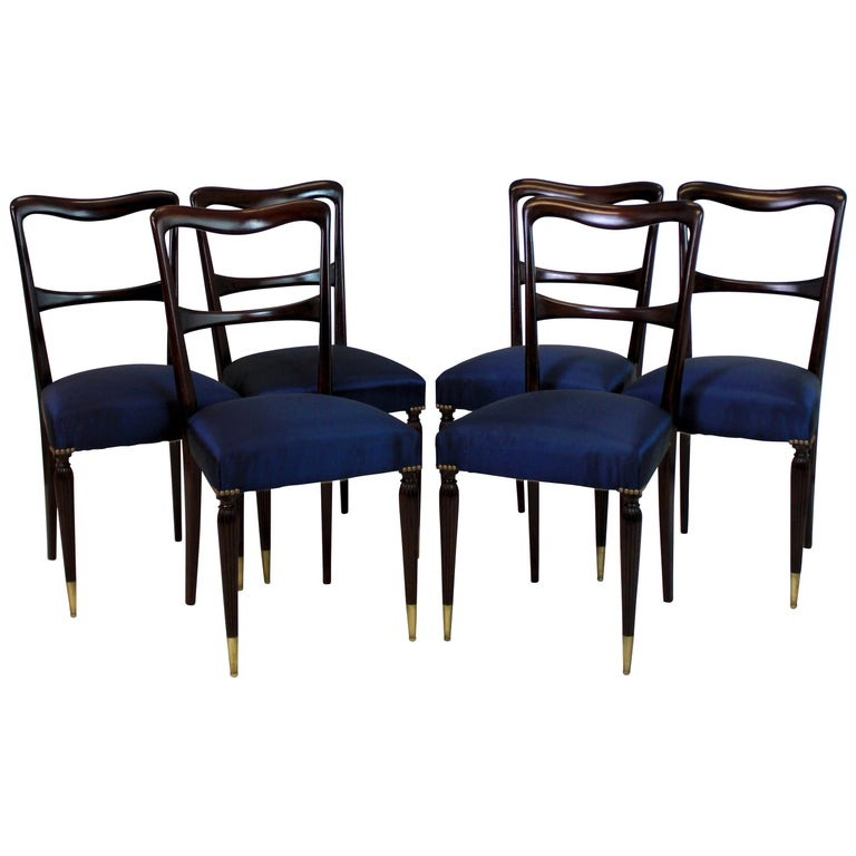 Set of Six Fine Italian Dining Chairs For Sale