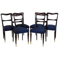 Set of Six Fine Italian Midcentury Dining Chairs