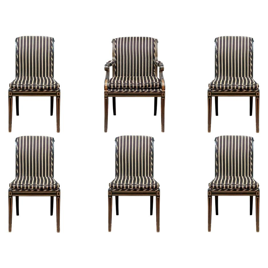 Set of Six Fine Neoclassical Style Ebonized Gilt Upholstered Dining Chairs