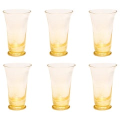 Set of Six Flora Long Drink Glasses 24-Karat Gold Leaf