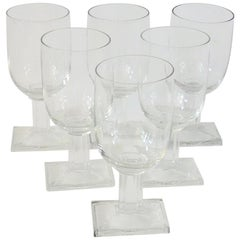 Set of Six Fluted Base Art Deco Wine or Water Glasses