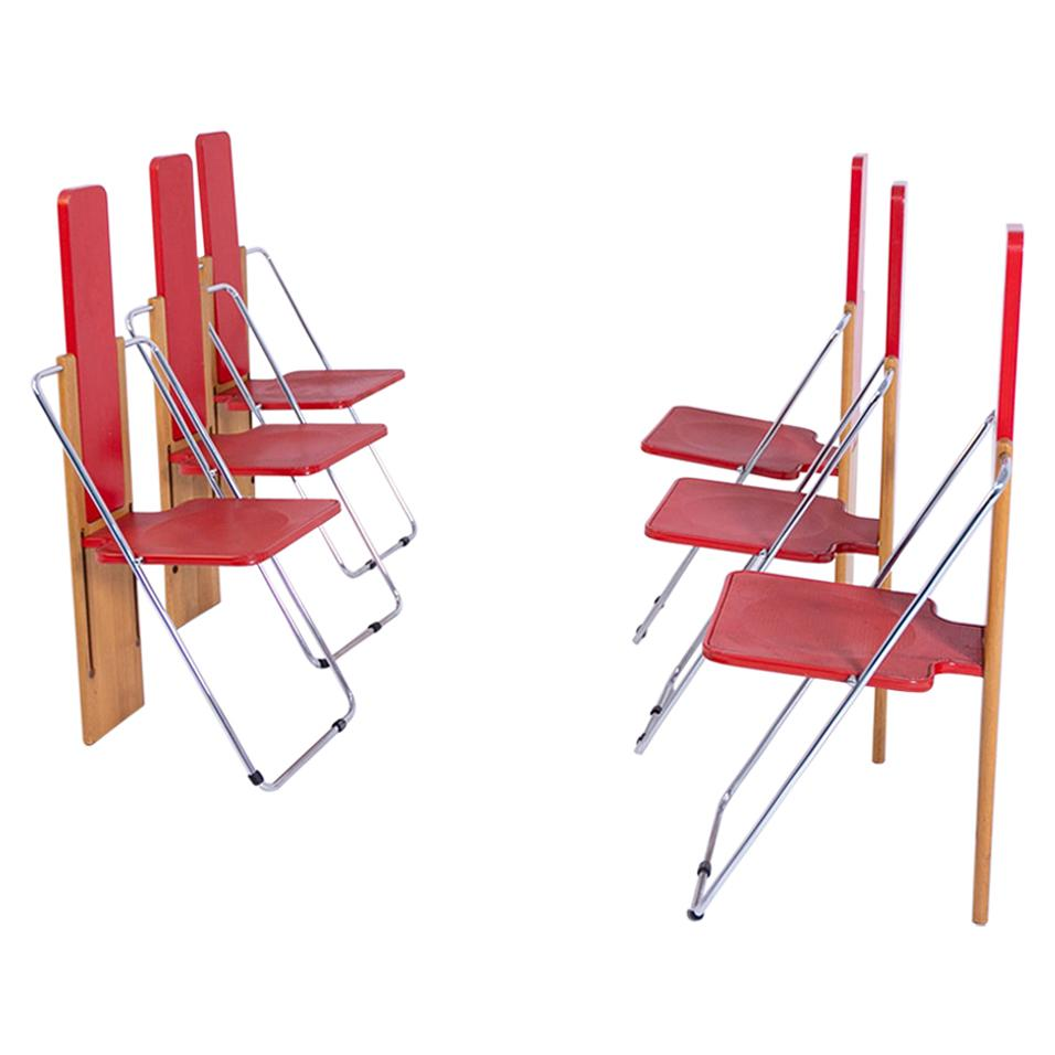 Set of Six Folding Chairs by Mario Sabot, 1970s