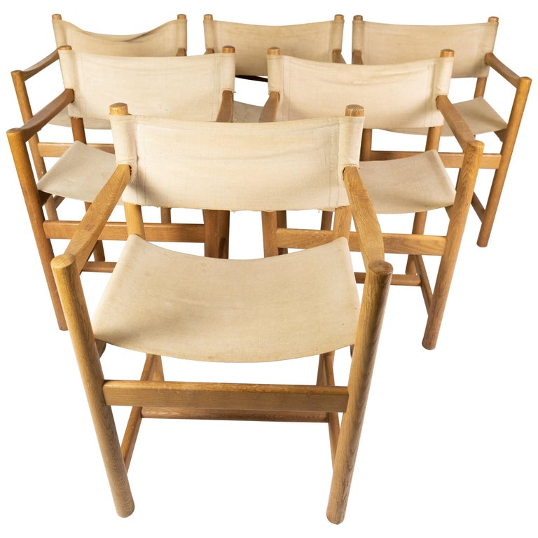 Set of Six Folding Chairs, Model J102, Designed by Ditte & Adrian Heath for FDB For Sale