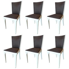 Set of Six French 1940s Painted Pine Re-Upholstered Dining Chairs