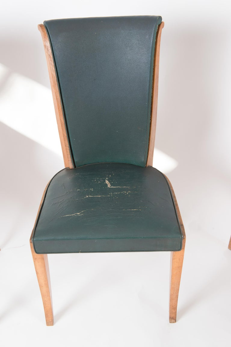Set of Six French 1950s Dining Chairs, Green For Sale 5