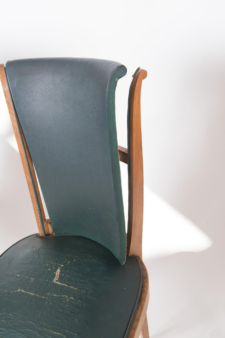 Set of Six French 1950s Dining Chairs, Green For Sale 6