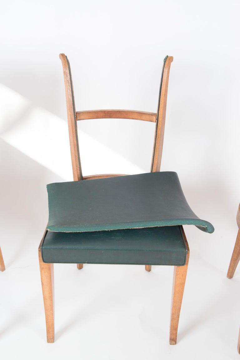 Set of Six French 1950s Dining Chairs, Green For Sale 7