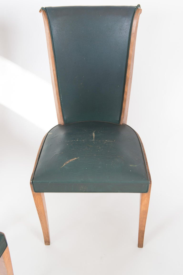 Set of Six French 1950s Dining Chairs, Green For Sale 8