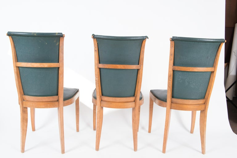 Set of Six French 1950s Dining Chairs, Green For Sale 9