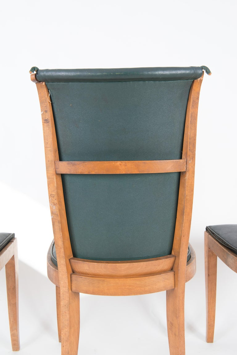 Set of Six French 1950s Dining Chairs, Green For Sale 10