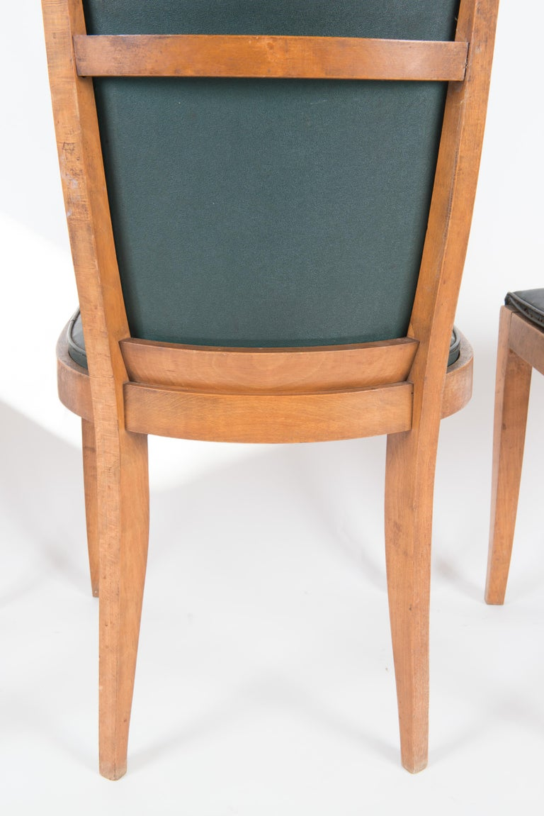 Set of Six French 1950s Dining Chairs, Green For Sale 11
