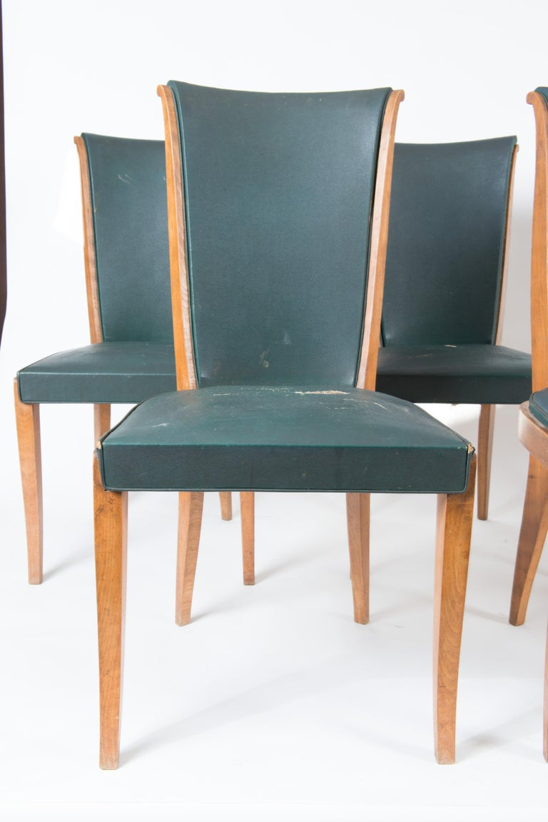 Mid-Century Modern Set of Six French 1950s Dining Chairs, Green For Sale