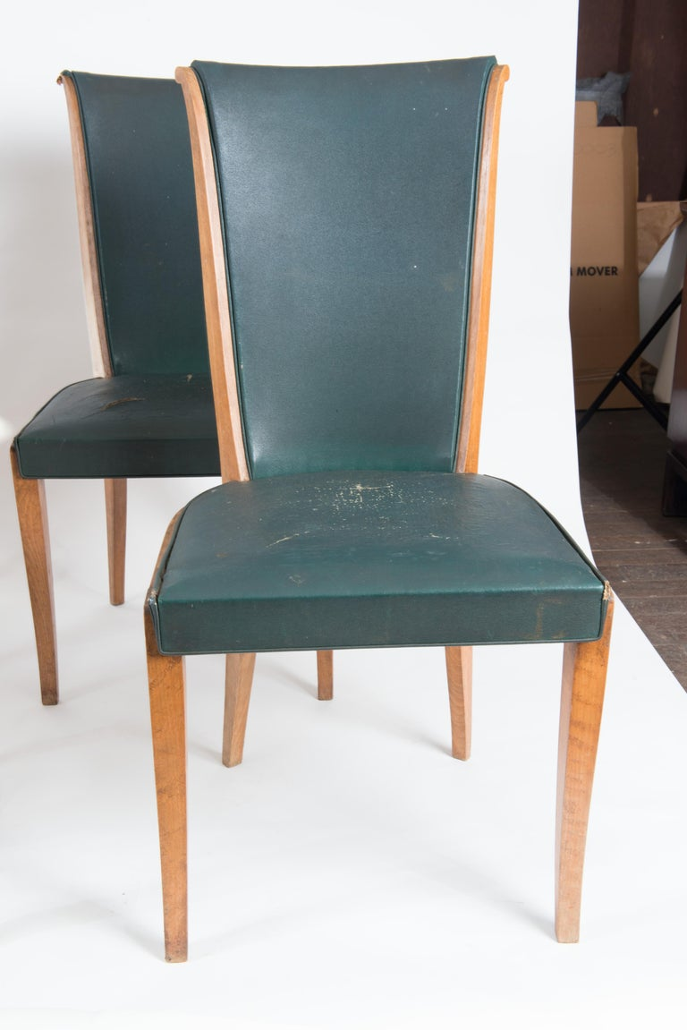 Set of Six French 1950s Dining Chairs, Green In Good Condition For Sale In Stamford, CT