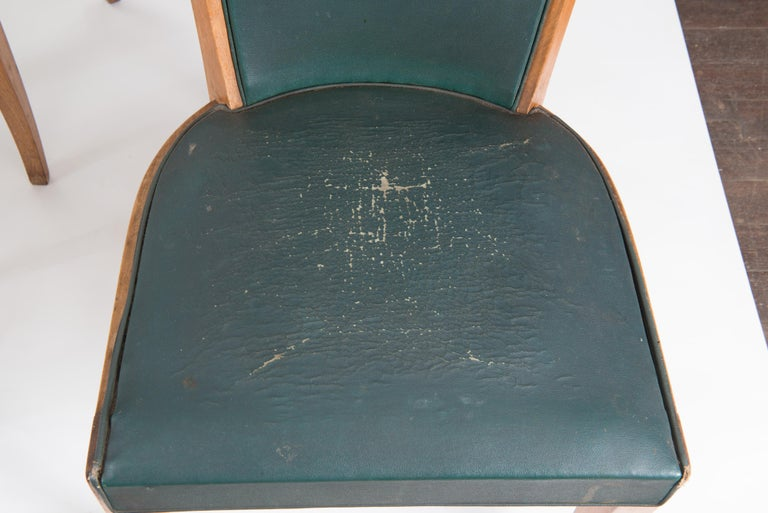 Mid-20th Century Set of Six French 1950s Dining Chairs, Green For Sale